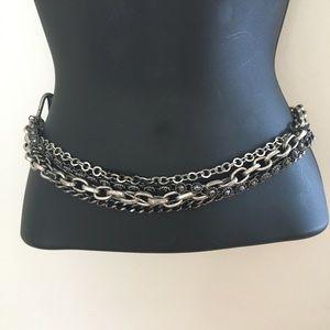 Multi Chain Black/Silver Waist Belt.L/XL